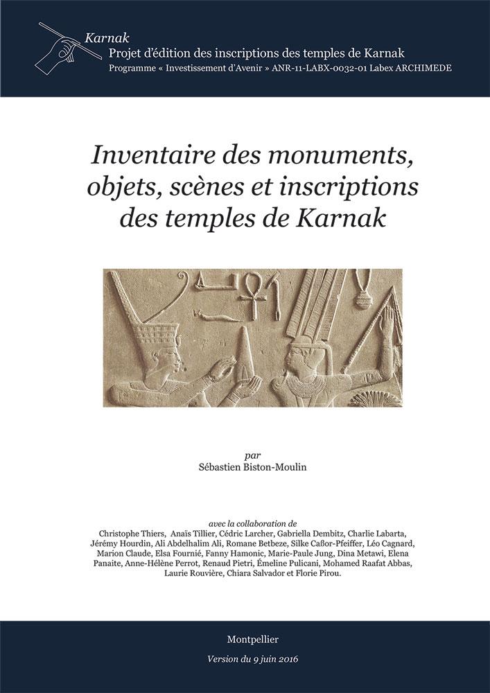 Sébastien Biston-Moulin, Inventaires des monuments, objets, scènes et inscriptions des temples de Karnak